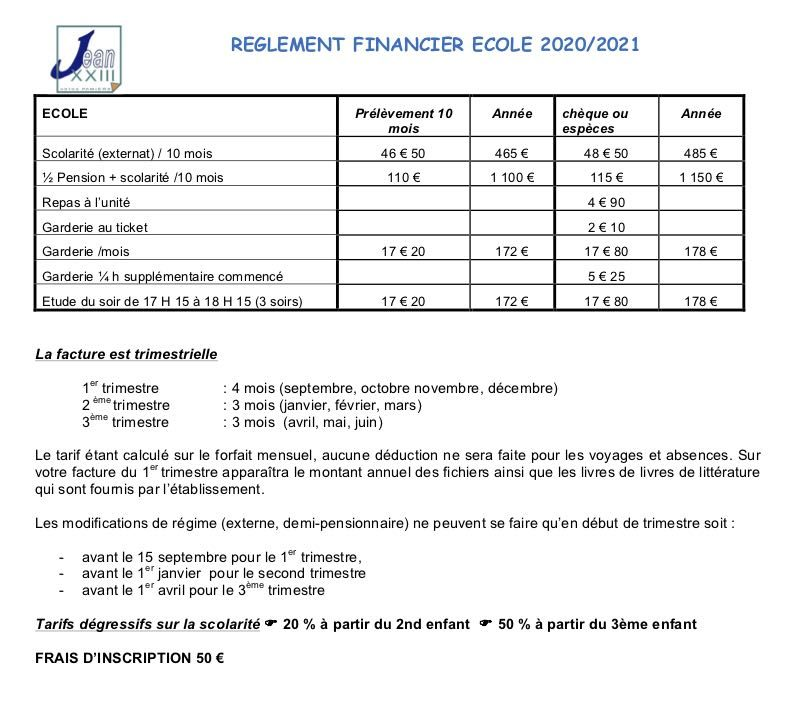 Jean 23 - REGLEMENT FINANCIER ECOLE 2020/2021